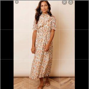 Böhme Midi Dress, Abstract Flower Ruffle Dress